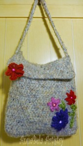Wool Felted Crochet Shoulder Bag with Flower and Bead Accents.